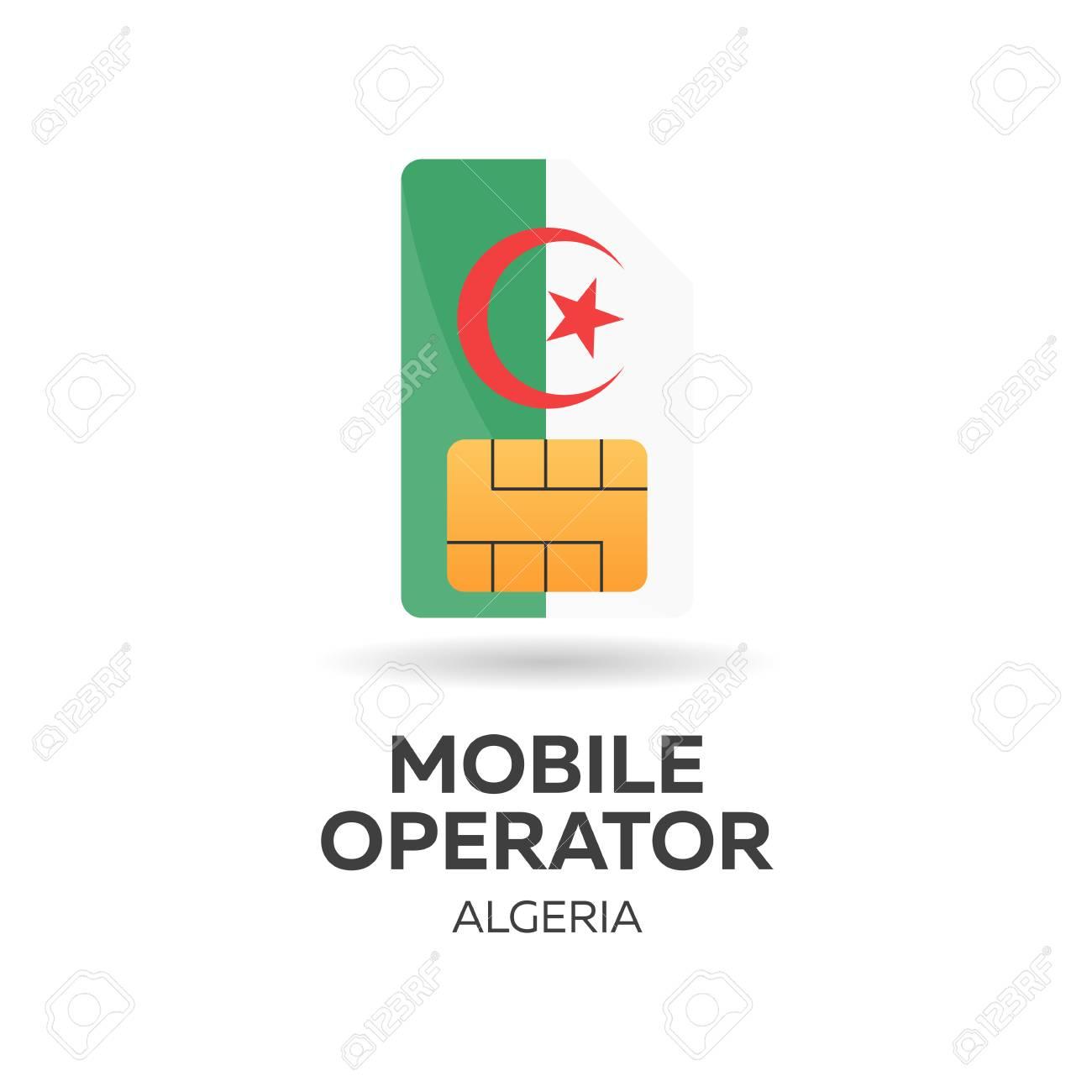 Carte Sim Algerie.Operateur Mobile Algerie Carte Sim Avec Indicateur Illustration Vectorielle