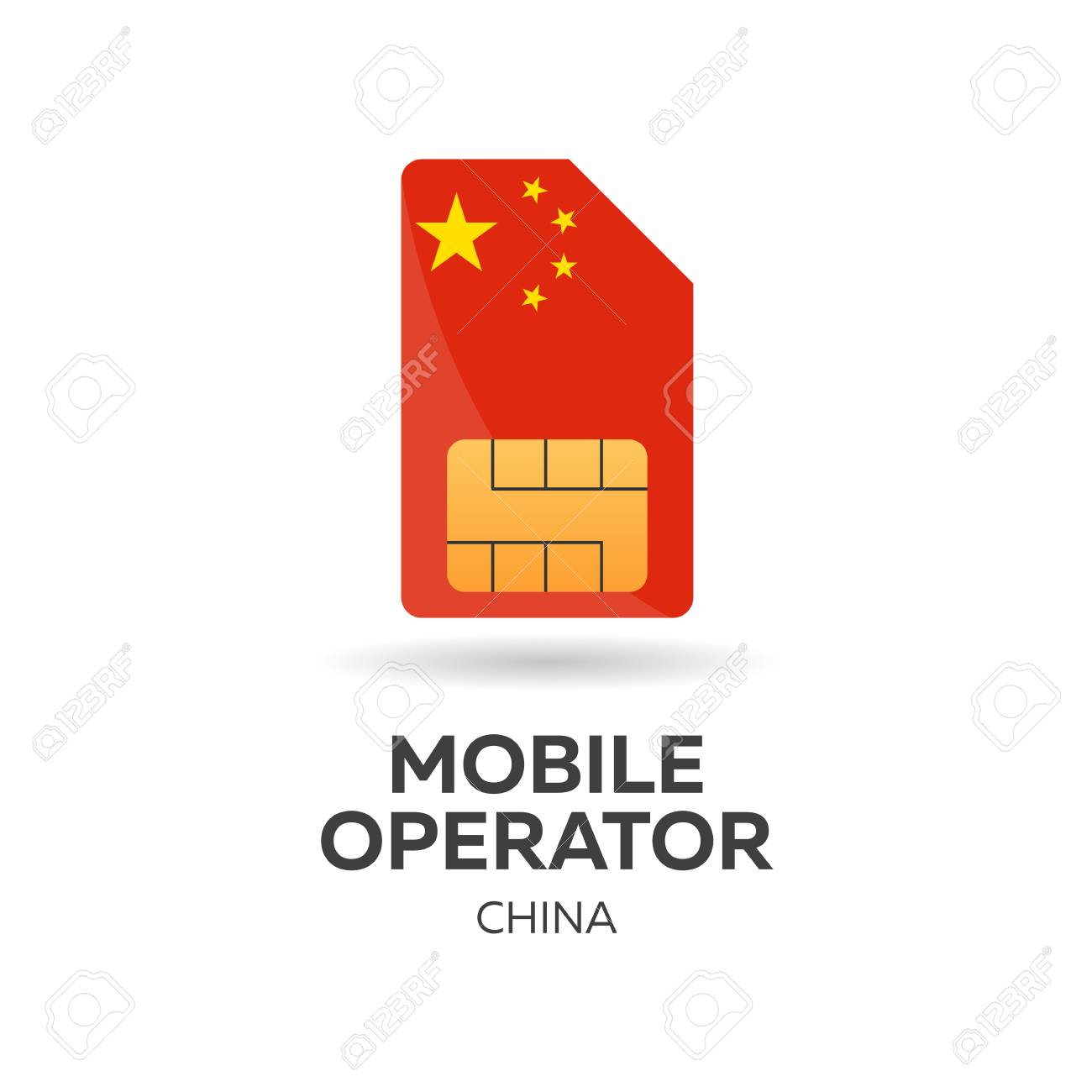 China mobile operator  SIM card with flag  Vector illustration