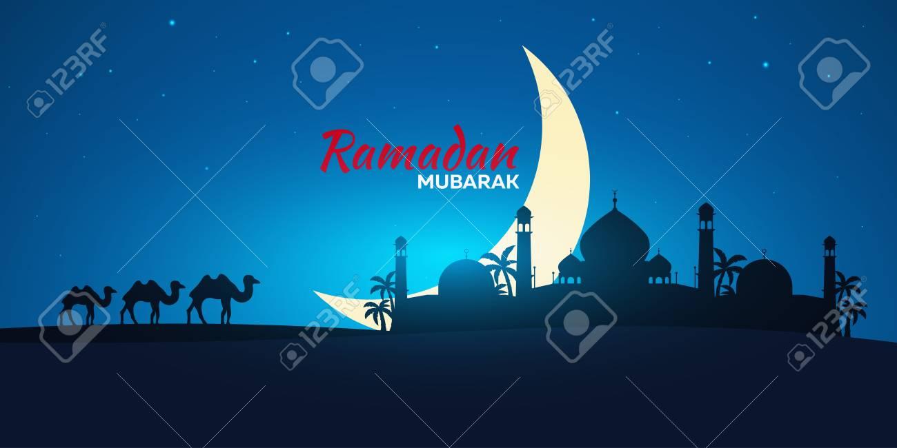 Ramadan kareem ramadan mubarak greeting card arabian night ramadan kareem ramadan mubarak greeting card arabian night with crescent moon and camel m4hsunfo