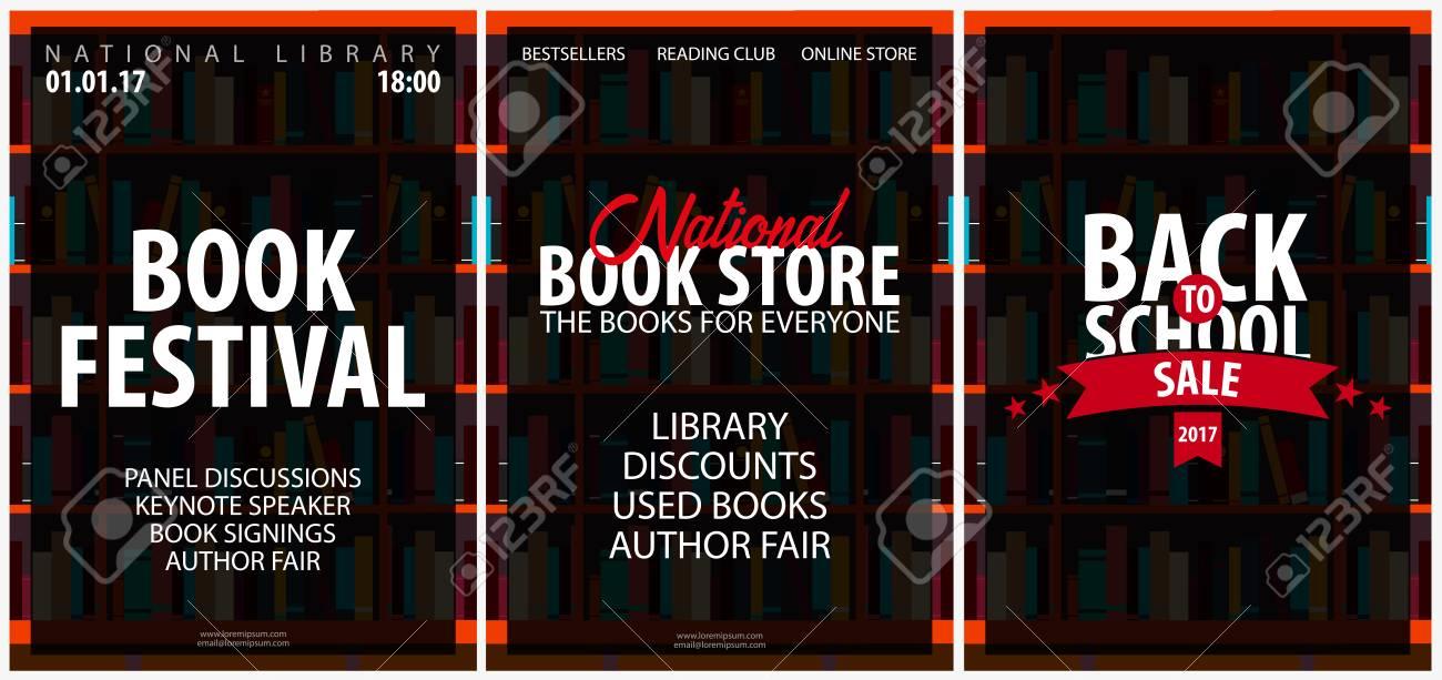Conjunto De Carteles National Book Store, Festival. Estante De Libro ...