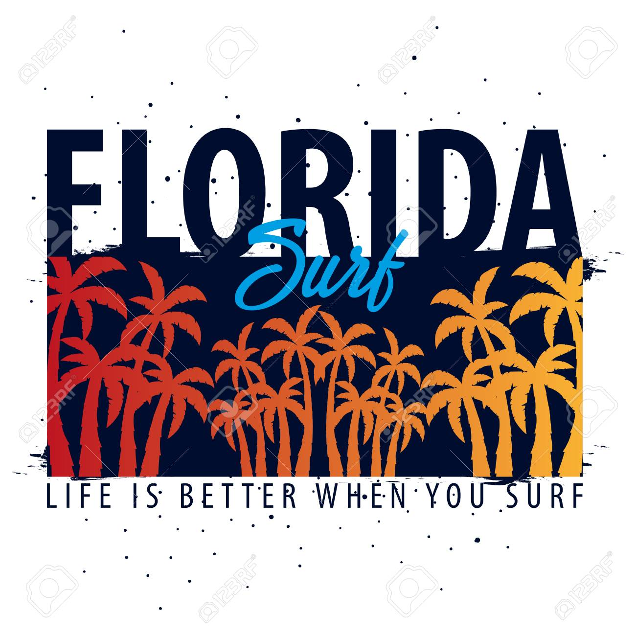Florida Surfing Graphic With Palms T Shirt Design And Print Royalty
