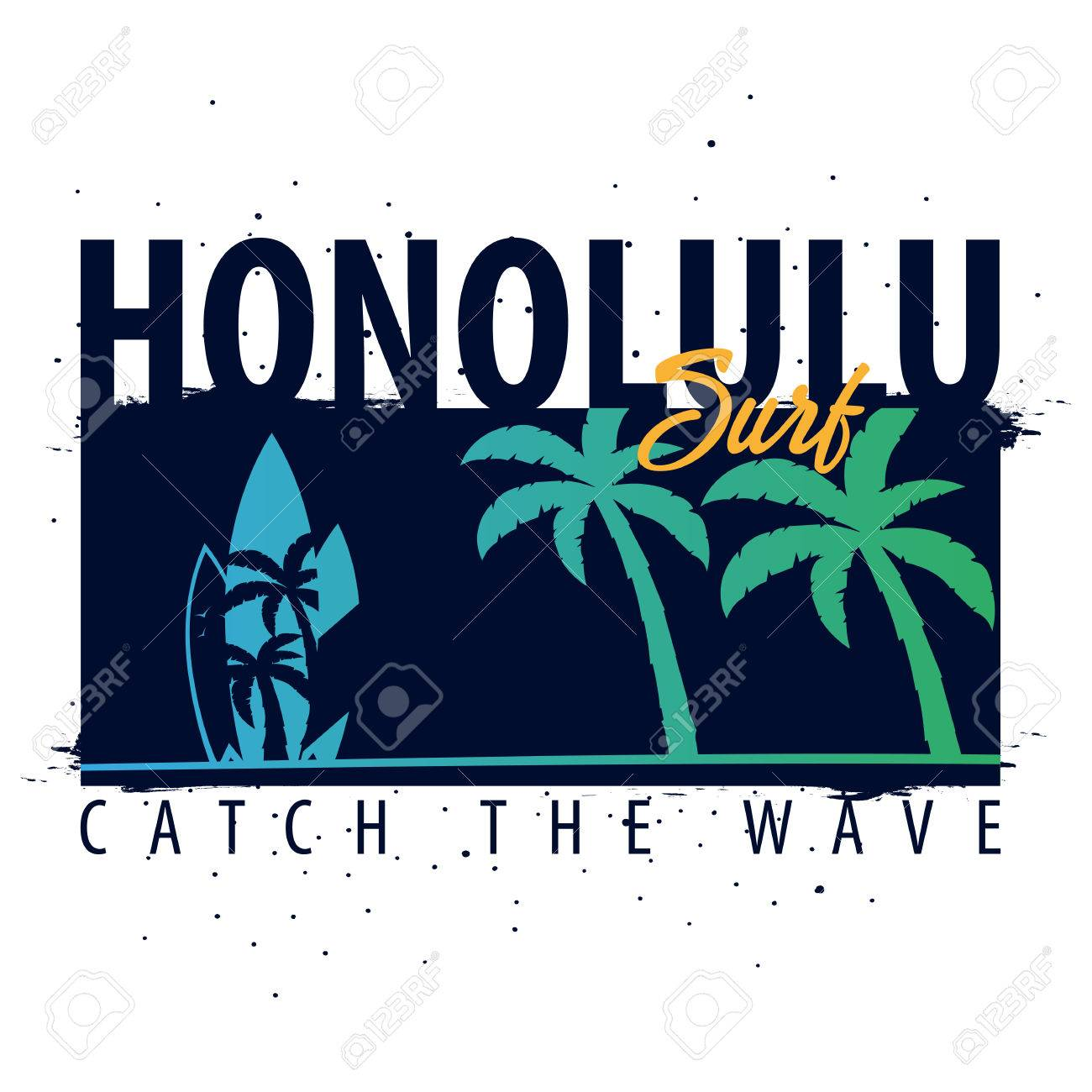 hawaii honolulu surfing graphic with palms t shirt design and