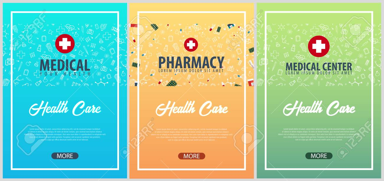 set of medical posters medical background health care vector