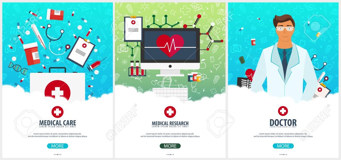 set of medical posters health care vector medicine illustration