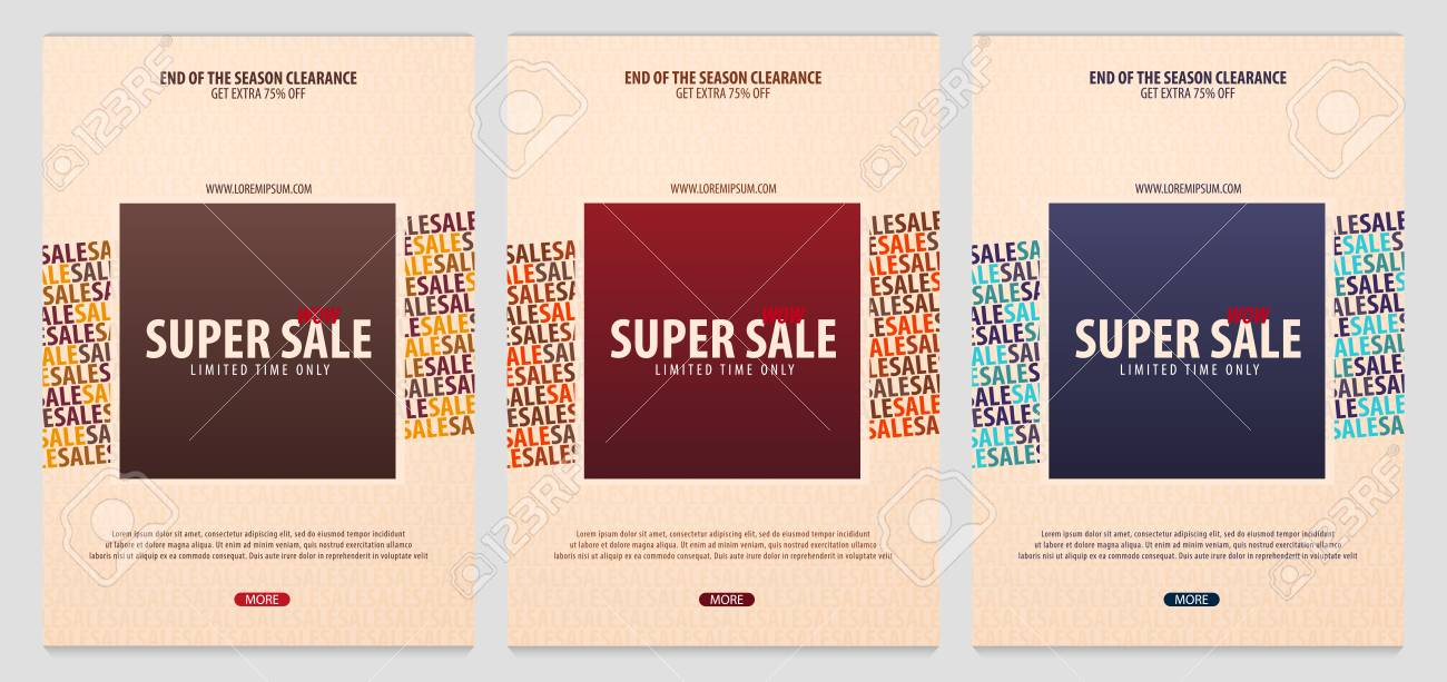set of sale posters or flyers design discount background for the online store shop