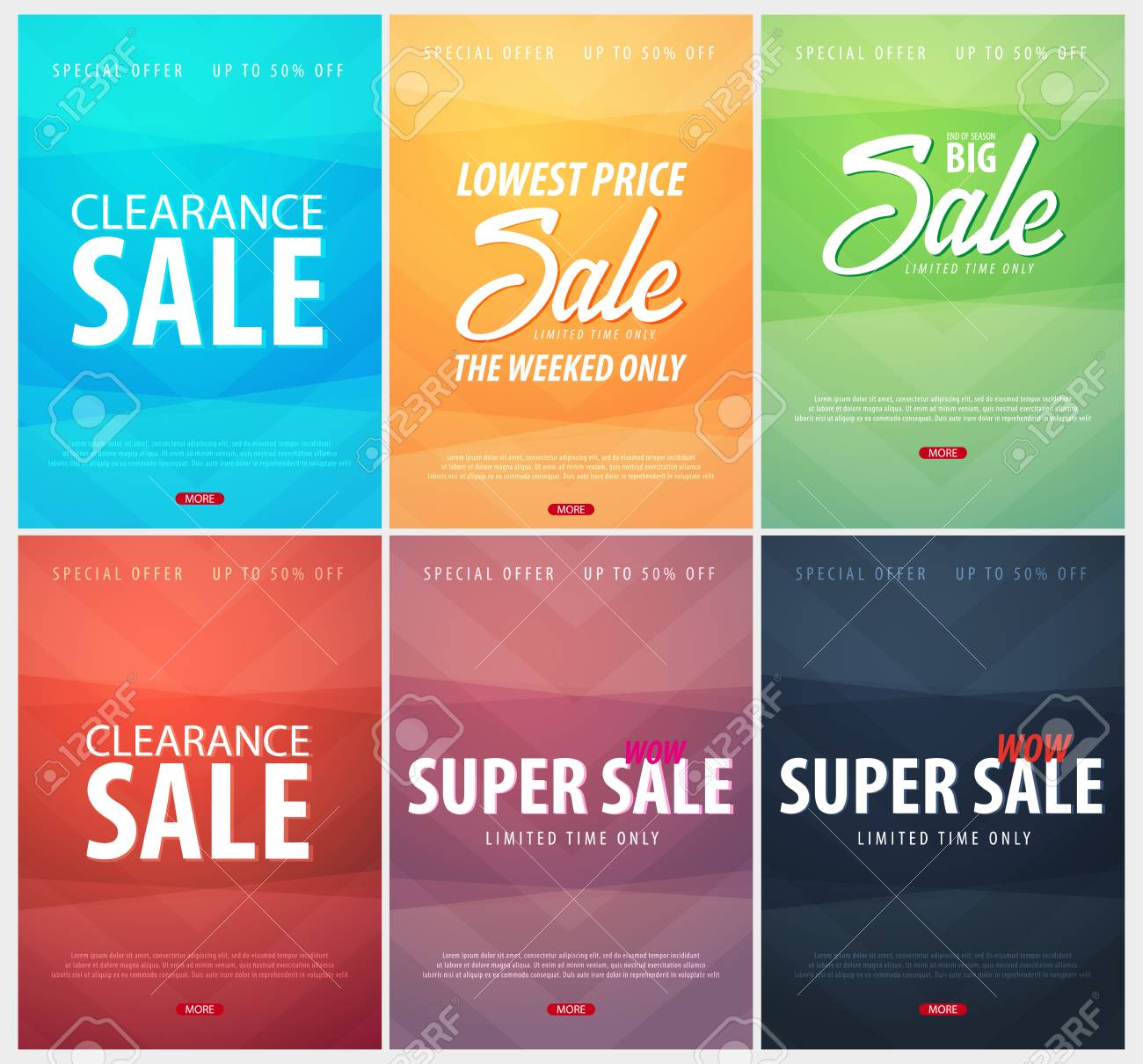 set of sale posters or flyers design discount background for