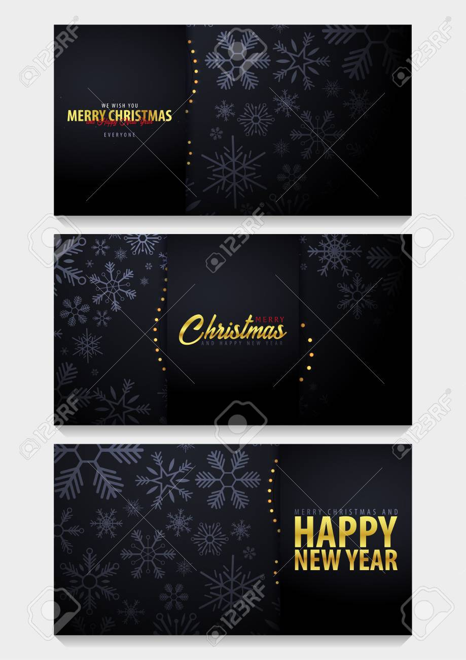 Set of Marry Christmas and Happy New Year banner on dark background with snowflakes. Vector illustration - 91114852