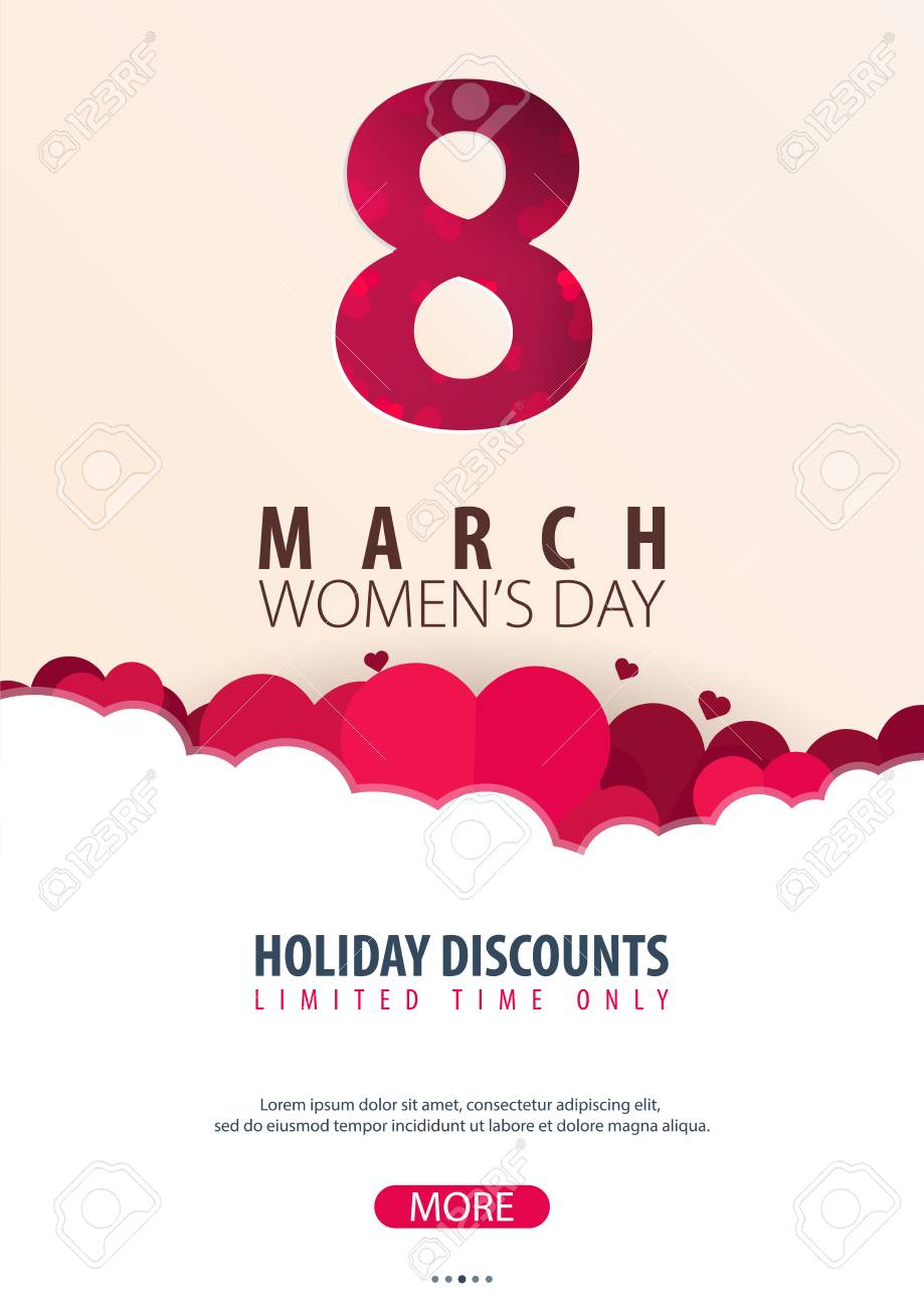 8 March International Womens Day Greeting Card With Heards Vector