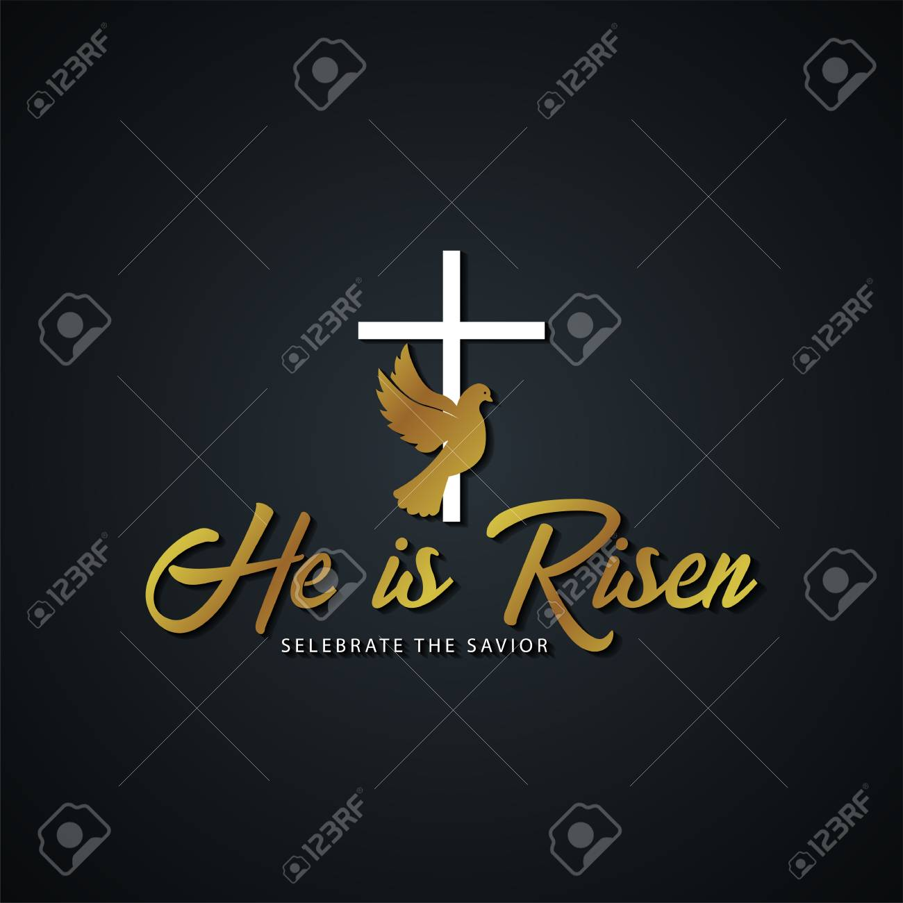 He is Risen  Church easter icon, emblem, labels or stickers with