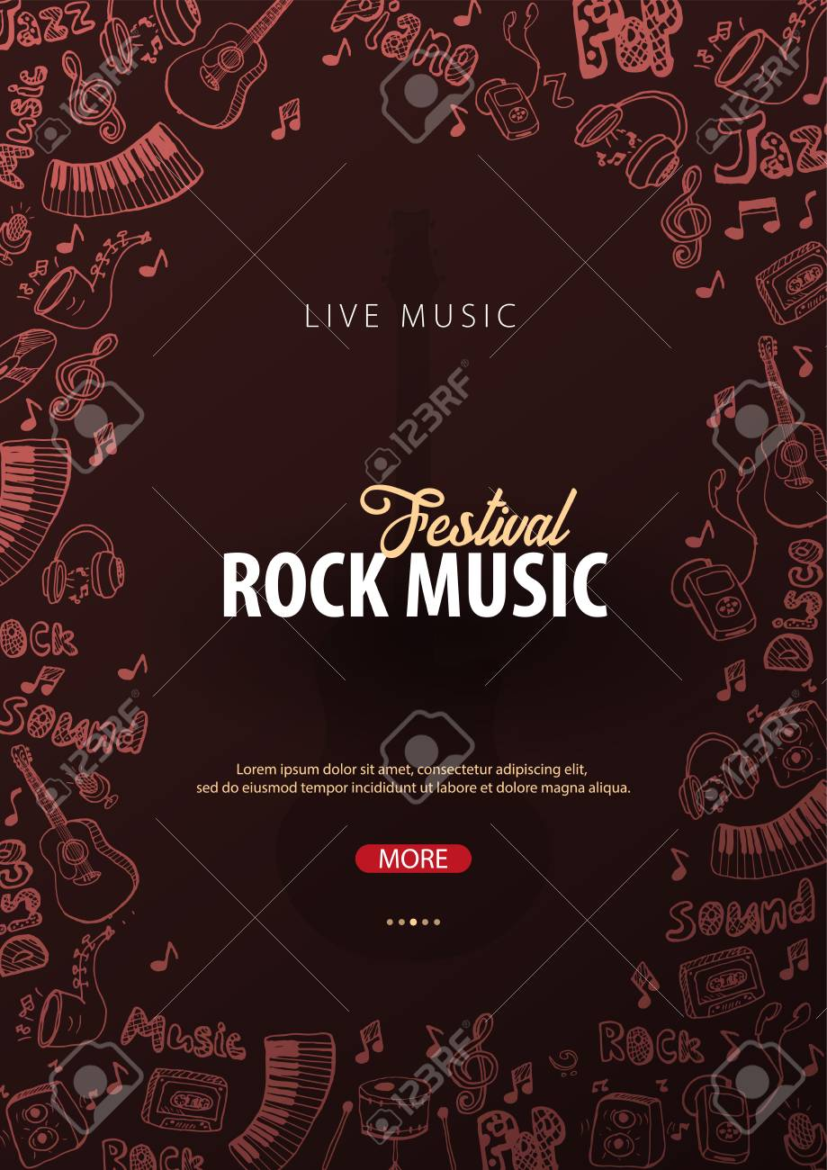rock music festival open air flyer design template with hand draw