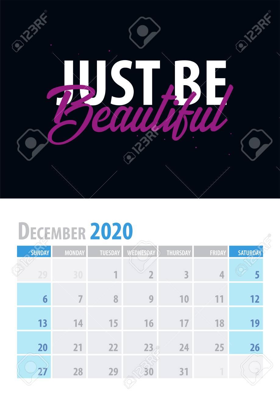 2020 December Calendar Background December. Calendar Planner 2020 With Motivational Quote On Black