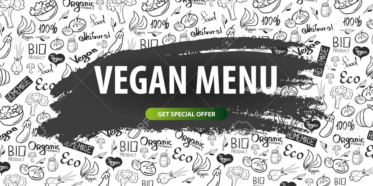 Go Vegan Healthy Food Vegetarian Banner Hand Draw Doodle Background Stock Photo Picture And Royalty Free Image Image 111861782