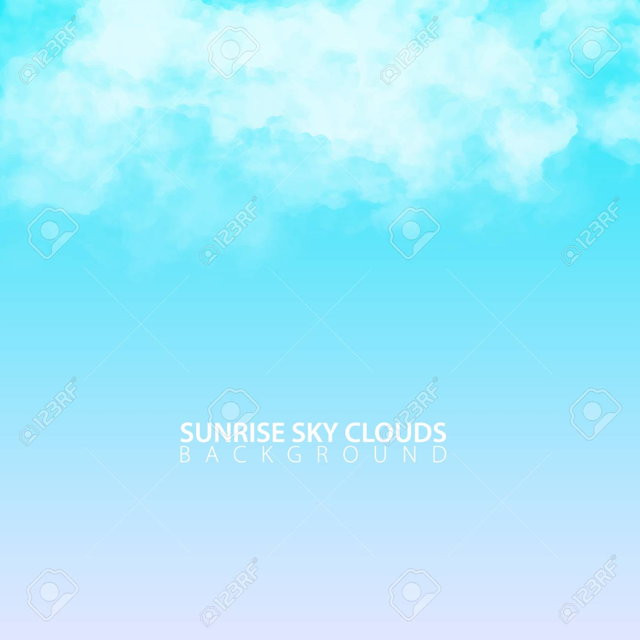 Sunrise morning sky with white realistic clouds  Vector Illustration