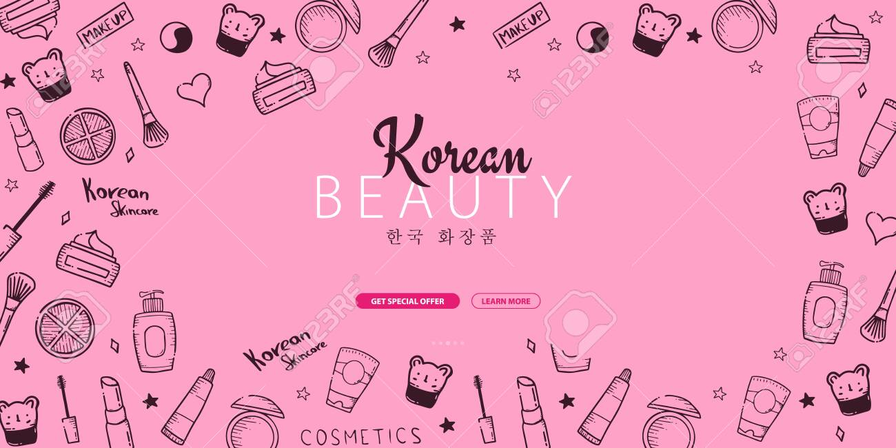 Korean Cosmetics K Beauty Banner With Hand Draw Doodle Background Royalty Free Cliparts Vectors And Stock Illustration Image 122899189