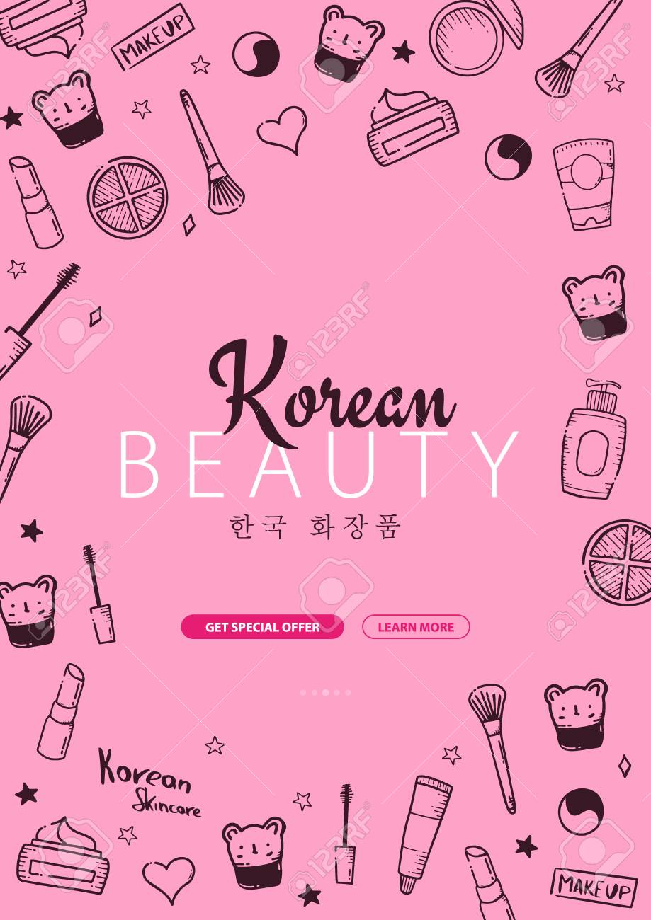 Korean Cosmetics K Beauty Banner With Hand Draw Doodle Background Royalty Free Cliparts Vectors And Stock Illustration Image 122899193