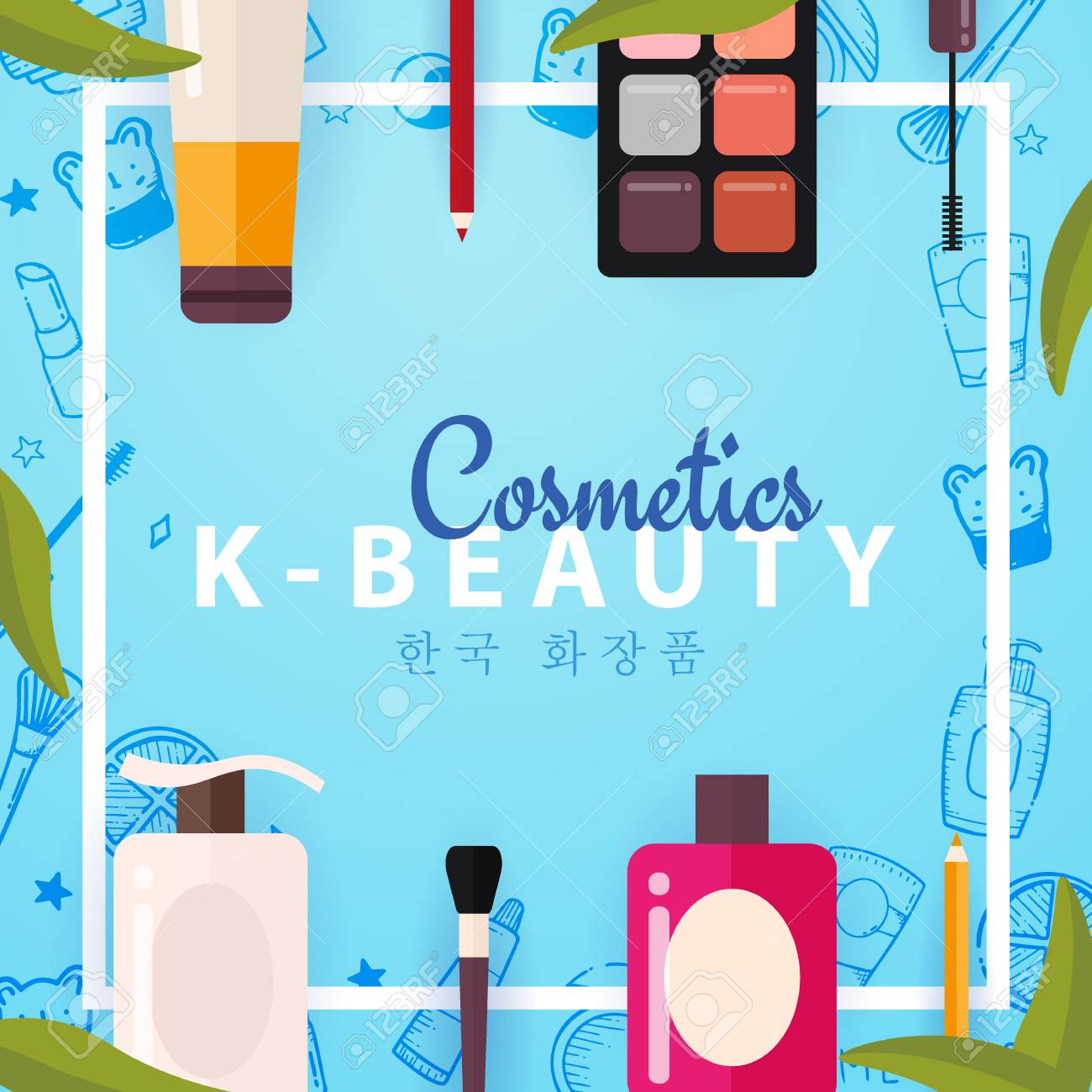 Korean Flat Cosmetics K Beauty Banner With Hand Draw Doodle Royalty Free Cliparts Vectors And Stock Illustration Image 122899216