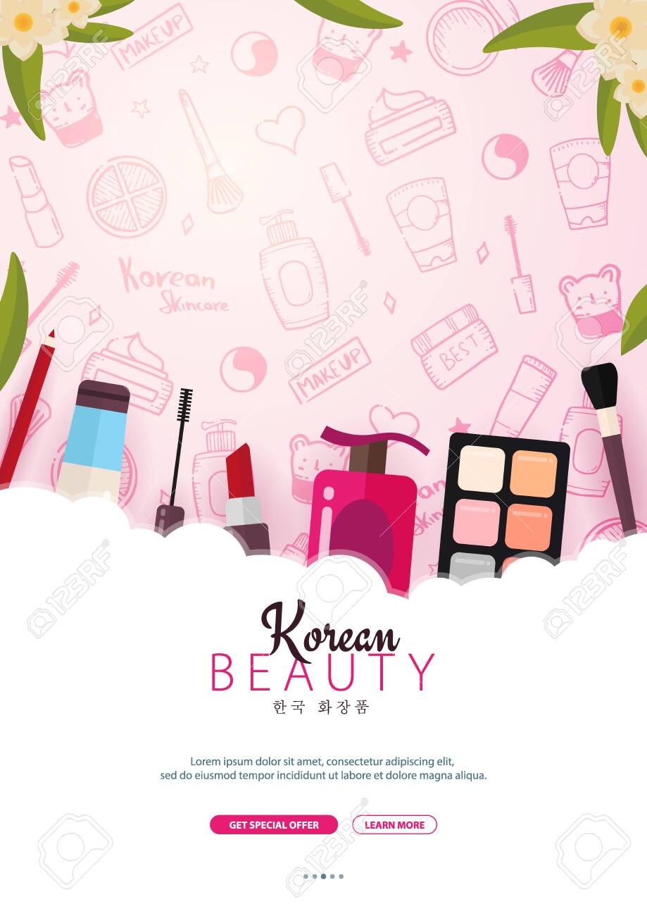 Korean Flat Cosmetics K Beauty Banner With Hand Draw Doodle Royalty Free Cliparts Vectors And Stock Illustration Image 122899221