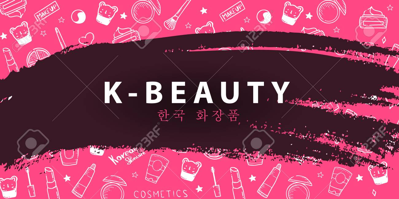 Korean Cosmetics K Beauty Banner With Hand Draw Doodle Background Royalty Free Cliparts Vectors And Stock Illustration Image 122551790