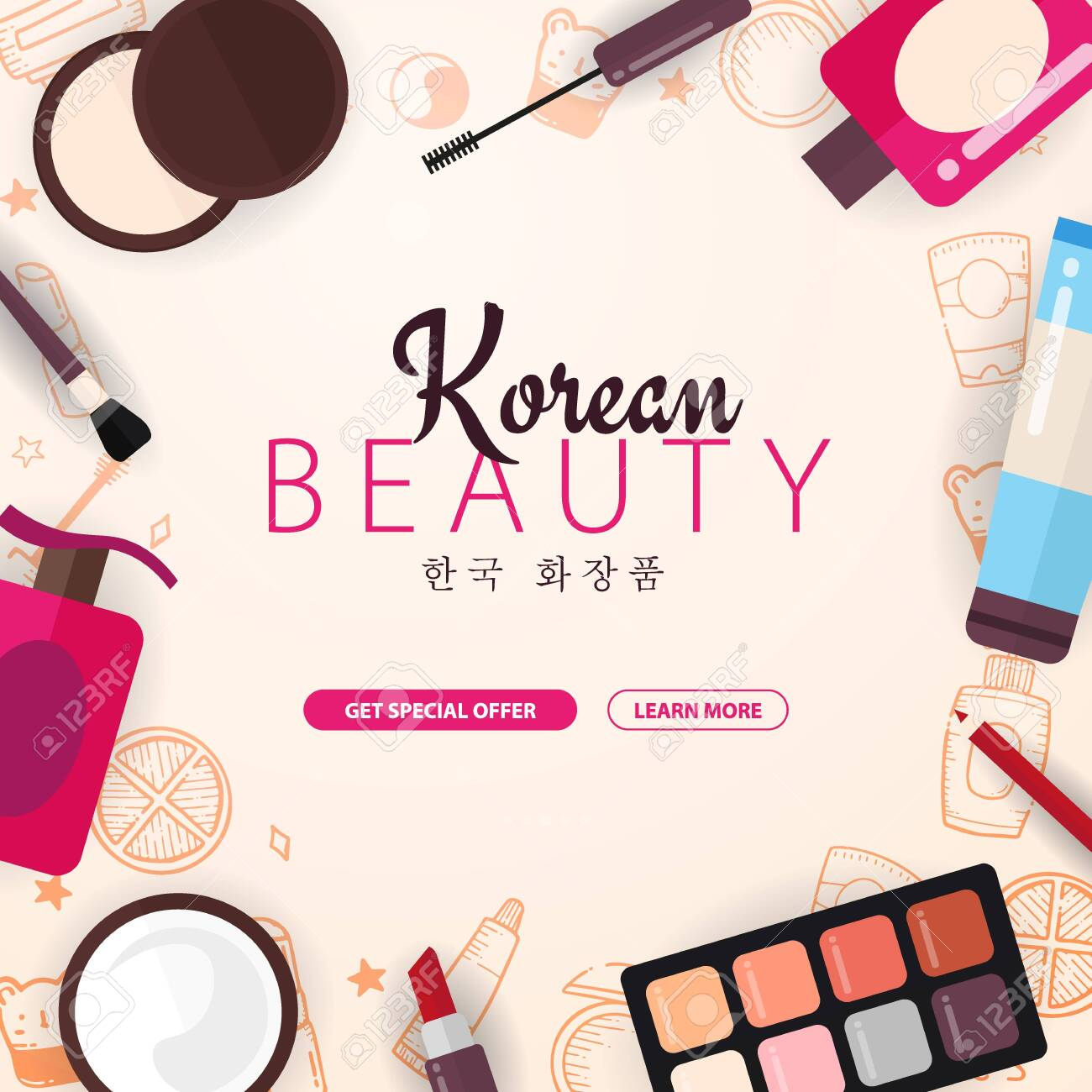 Korean Flat Cosmetics K Beauty Banner With Hand Draw Doodle Royalty Free Cliparts Vectors And Stock Illustration Image 122551808