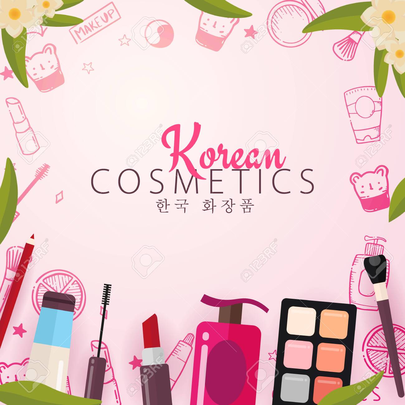 Korean Flat Cosmetics K Beauty Banner With Hand Draw Doodle Royalty Free Cliparts Vectors And Stock Illustration Image 123140563