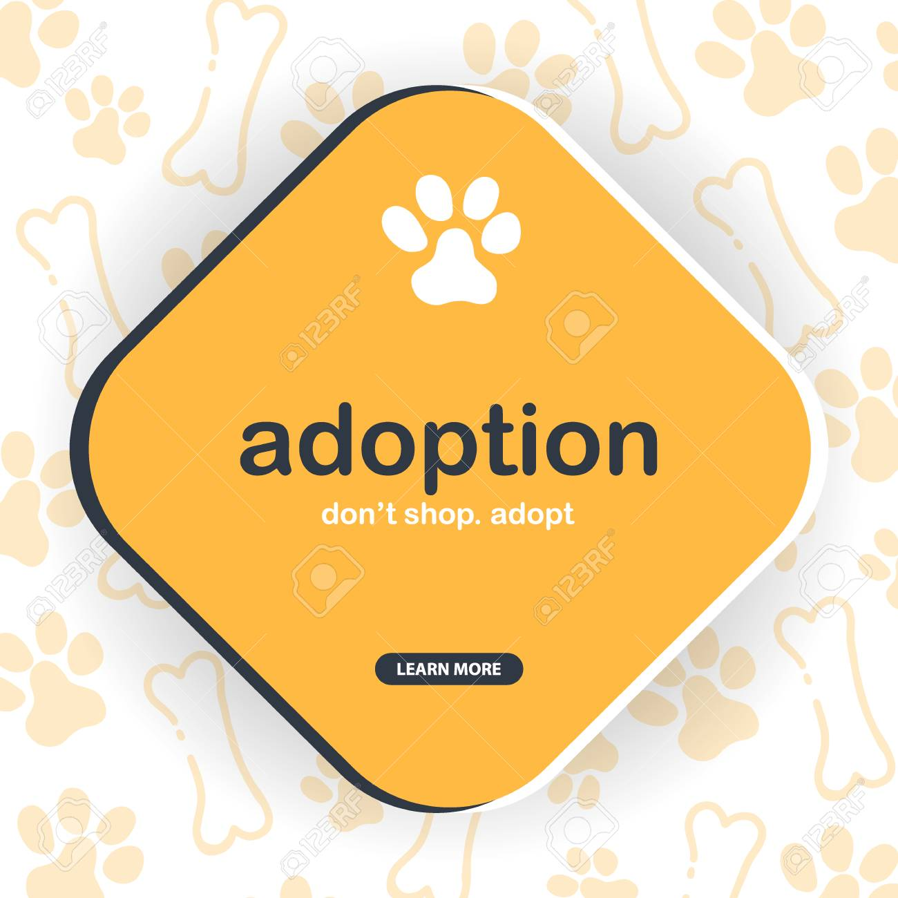 Adoption Dont Shop Adopt Banner With Cat Or Dog Paws Hand