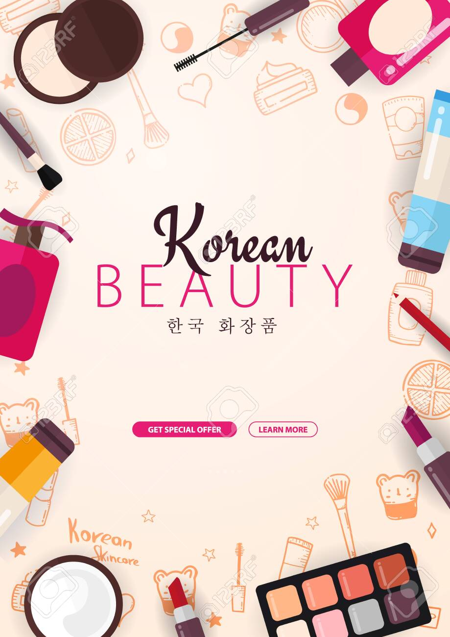 Korean Flat Cosmetics K Beauty Banner With Hand Draw Doodle Royalty Free Cliparts Vectors And Stock Illustration Image 125997810