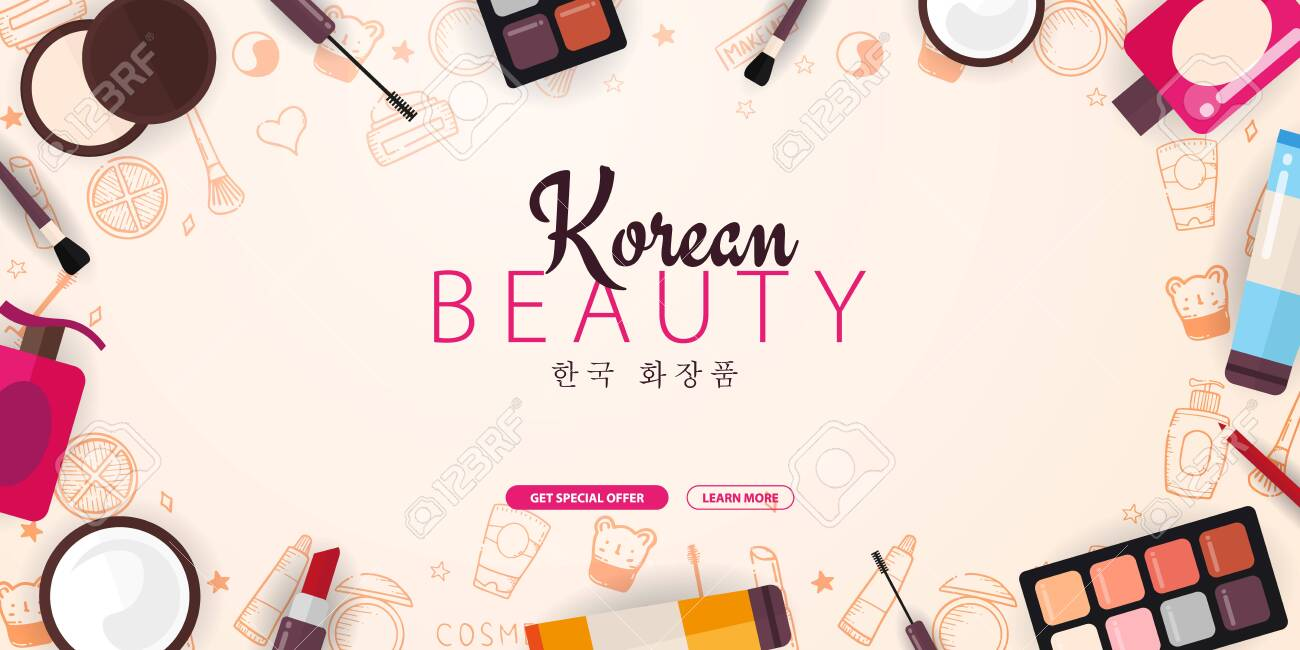 Korean Flat Cosmetics K Beauty Banner With Hand Draw Doodle Royalty Free Cliparts Vectors And Stock Illustration Image 126528481