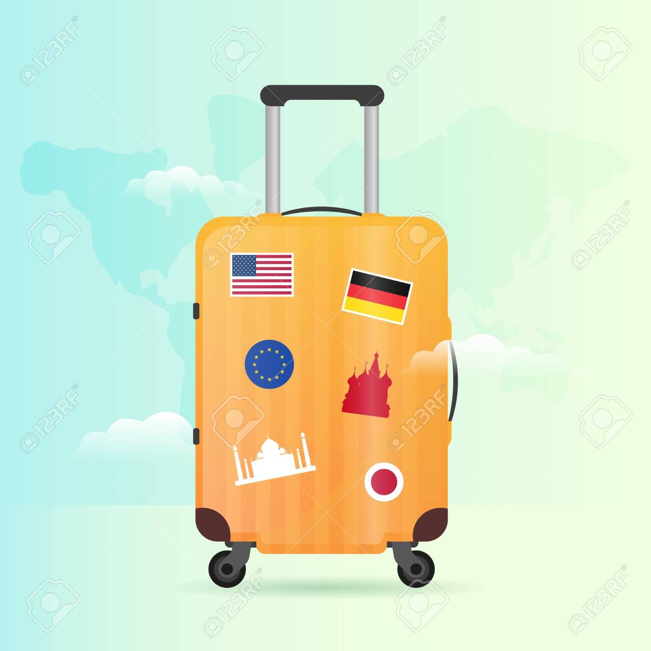 Time To Travel Banner With Travel Bag Vacation Road Trip Tourism Royalty Free Cliparts Vectors And Stock Illustration Image 147455289