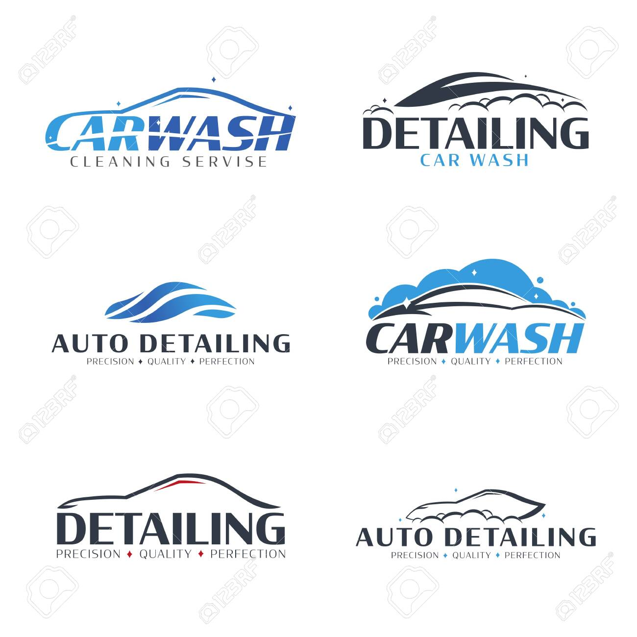 Set of Car Wash logos. Cleaning Car, Washing and Service. Vector logo with auto. - 152107692