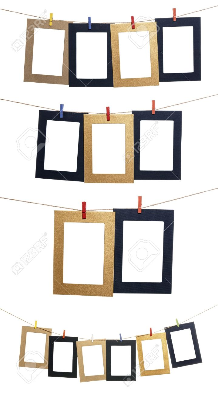 Collection Of Blank Photo Frames Hanging By Clothespins On A.. Stock ...