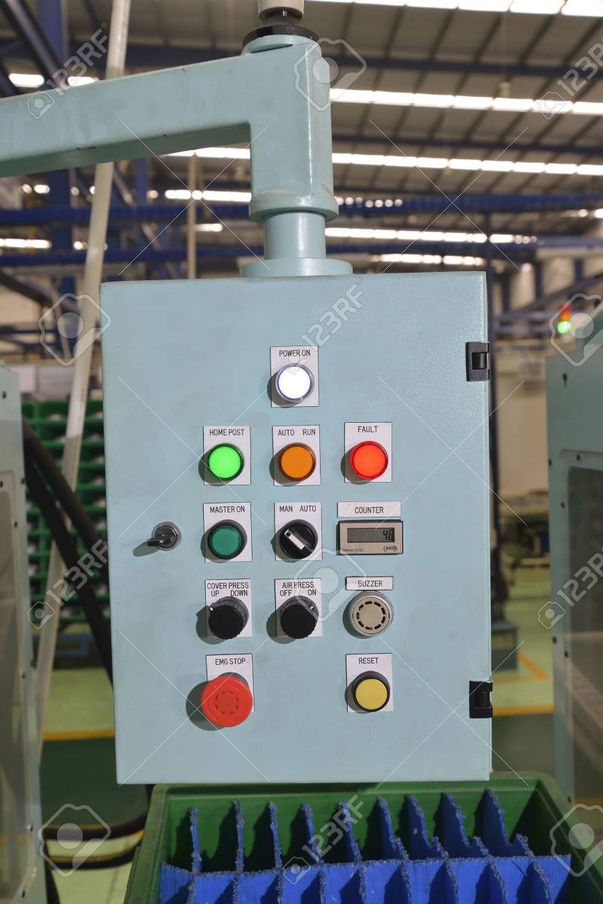 Control Panel With Buttons And Levers In The Factory Stock Photo ...
