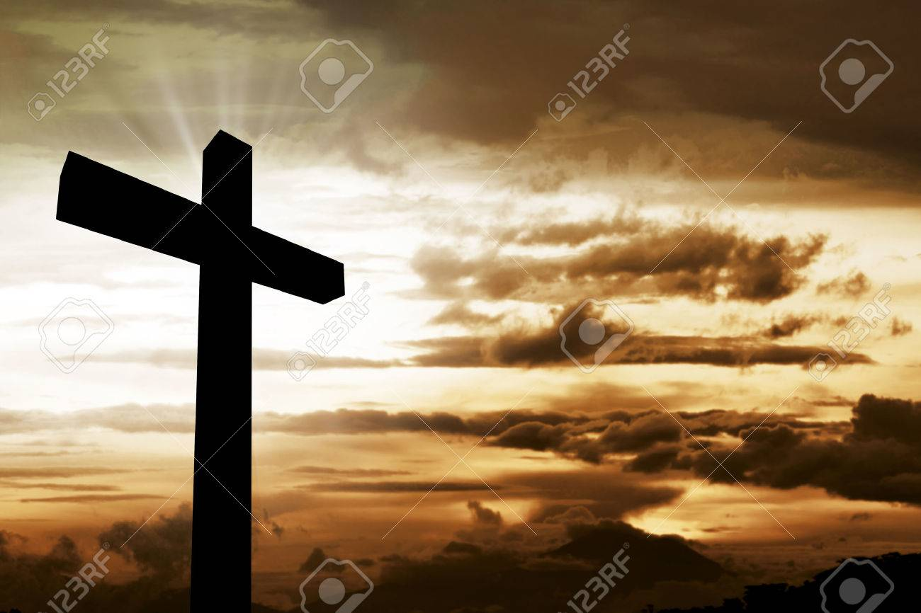 Wooden christian cross. Religious concept image - 54230456