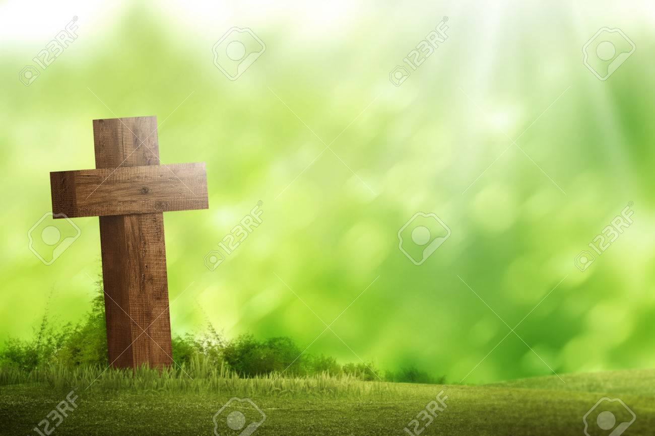 Wooden christian cross. Religious concept image - 54230880
