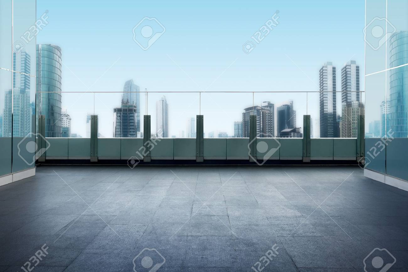 Roof top balcony in the building with cityscape background - 61489607