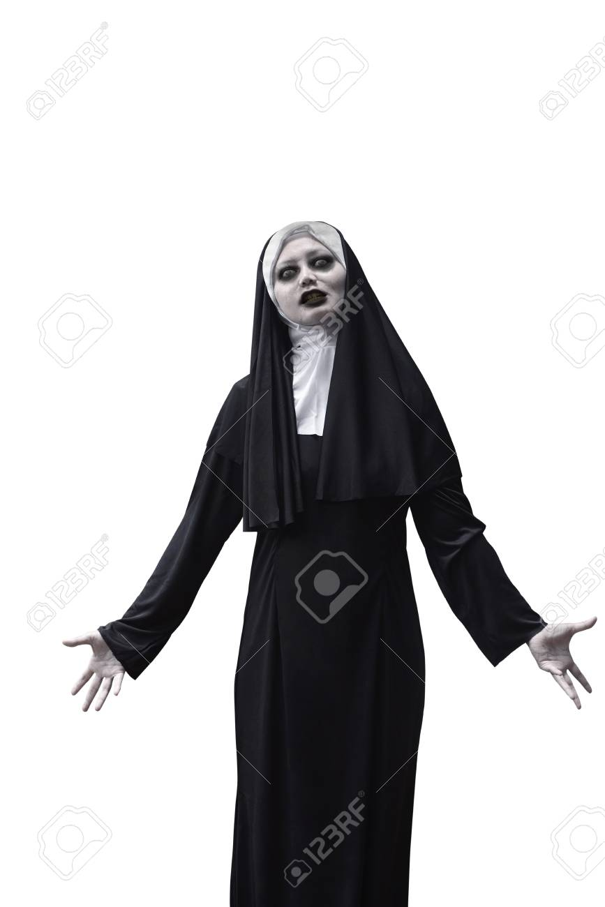 asian woman devil nun isolated over white background stock photo