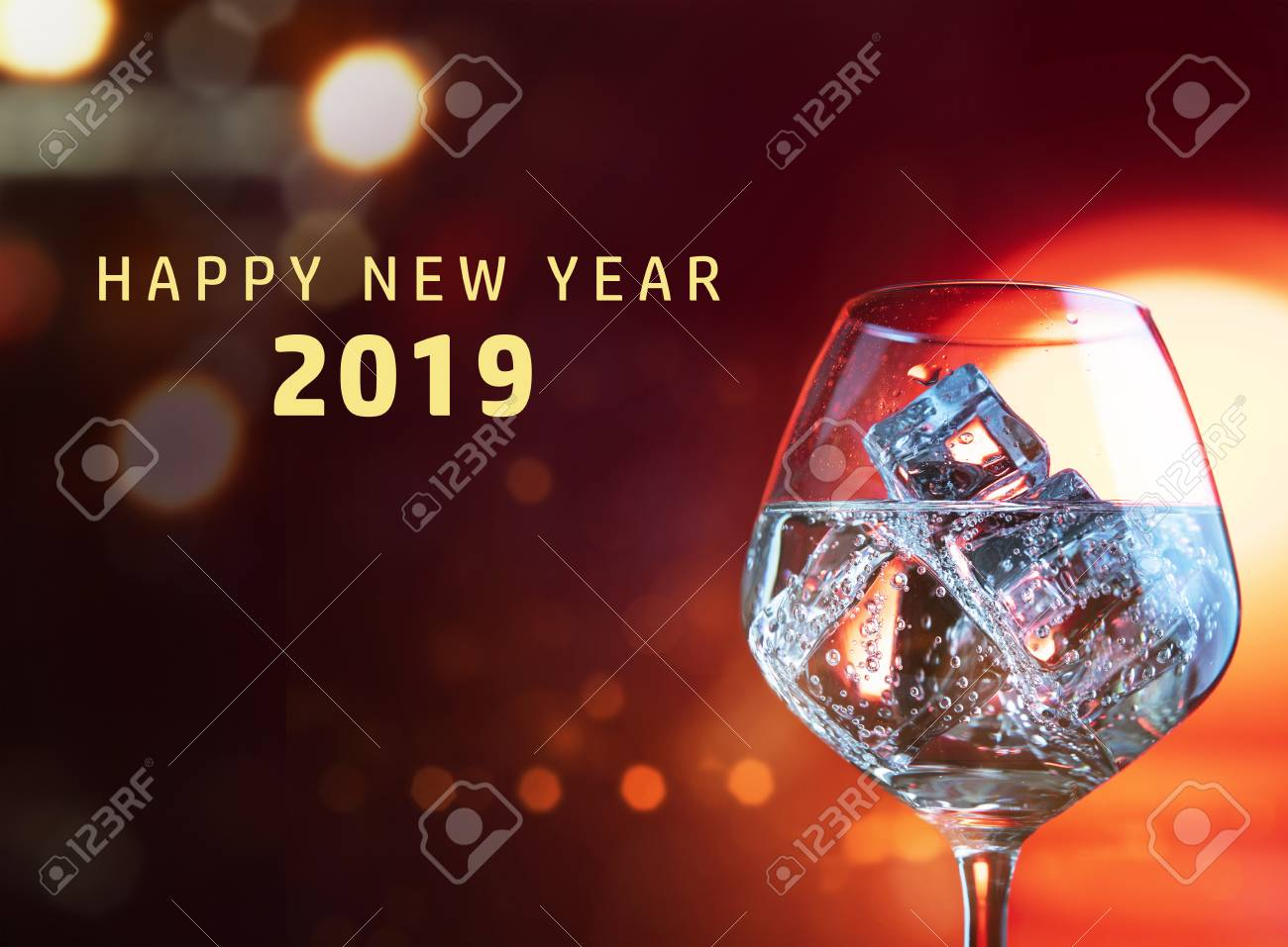 stock photo wine glasses and happy new year 2019 greeting over red bright background happy new year 2019