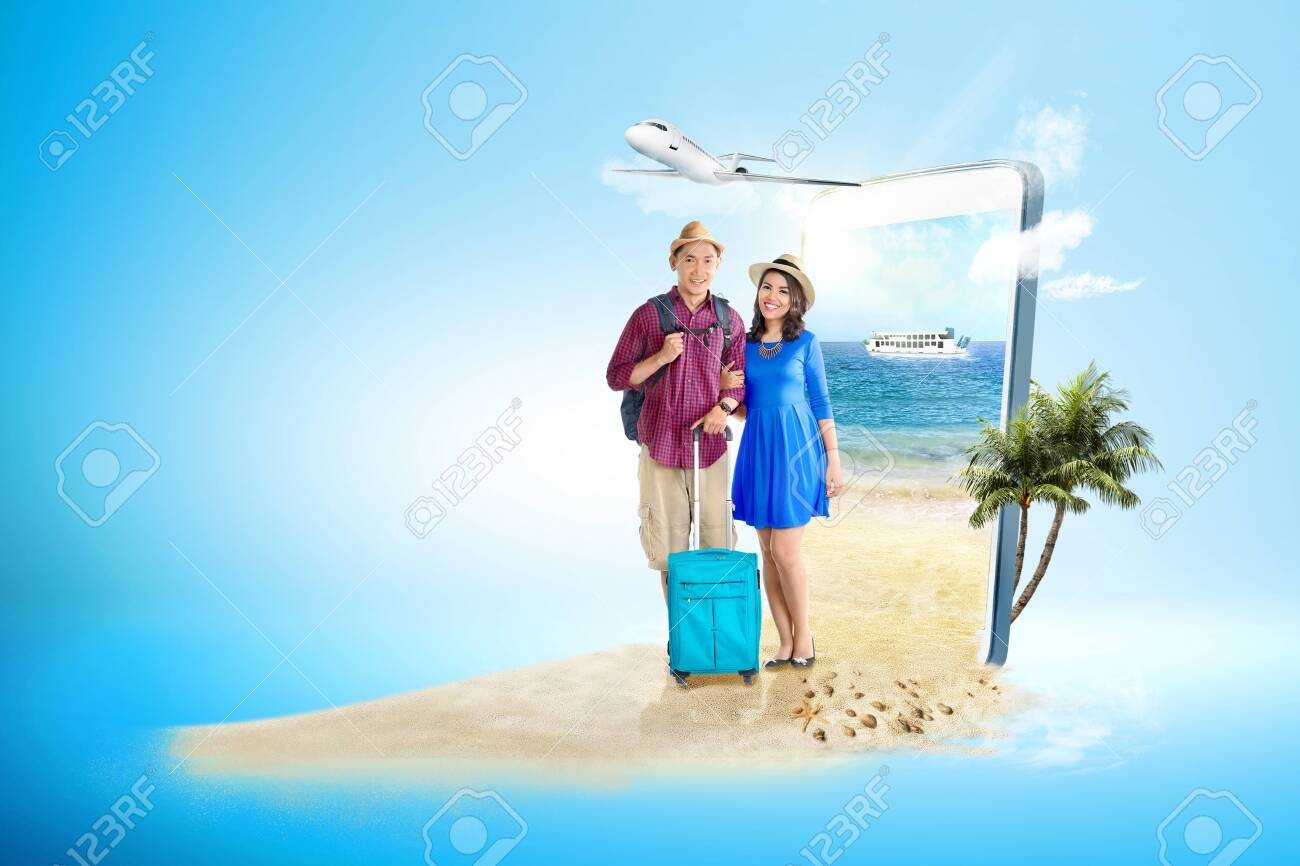 Mobile phone with blue background. From the phone screen comes asian couple with suitcase bag and backpack standing on the beach with ferry boat sailing on the sea and plane flying on the sky to the outside. Traveling concept - 126518489