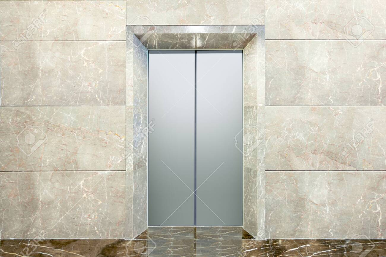 Closed Lift Door With A Pattern Design On The Door On The Office Stock Photo Picture And Royalty Free Image Image 142263333