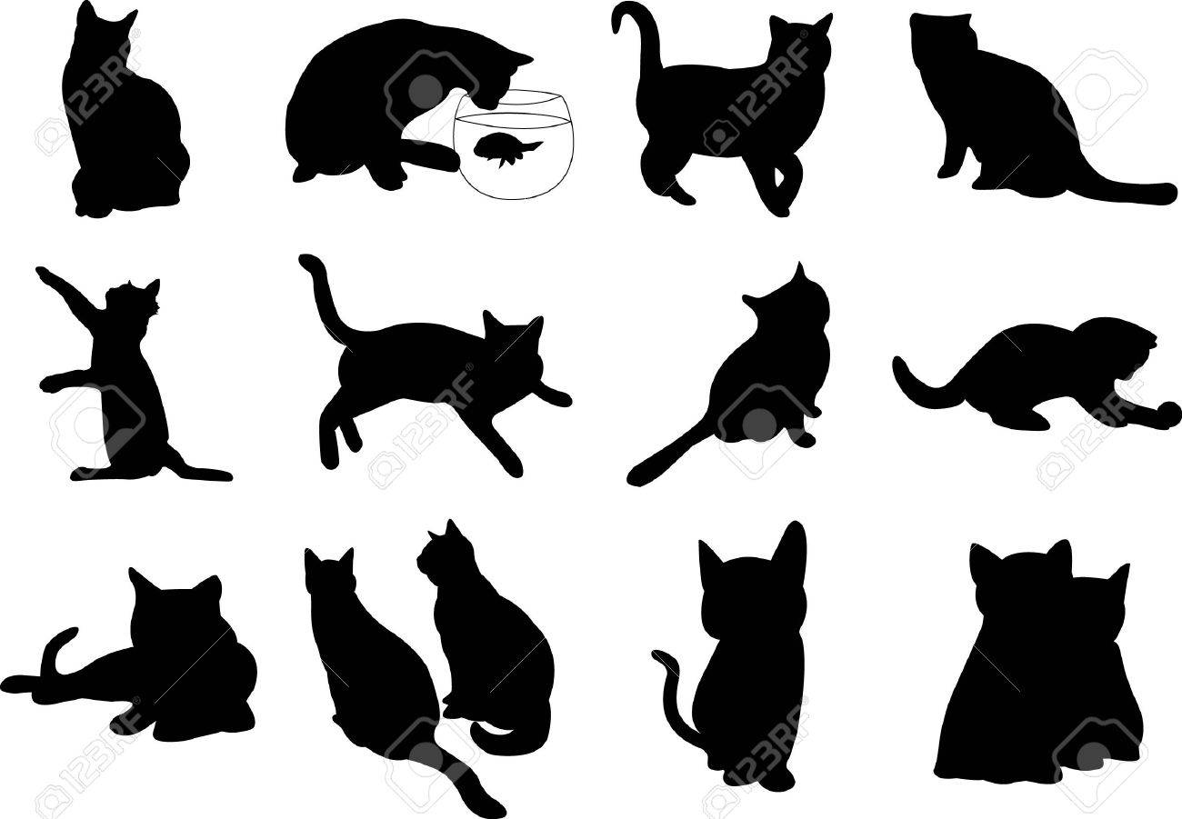 Illustration cats silhouette Stock Vector - 18245700