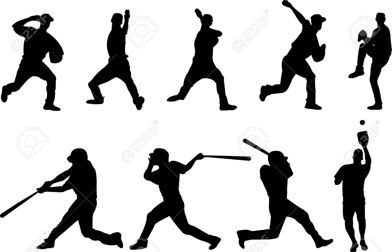 baseball player silhouette Stock Vector - 20681988