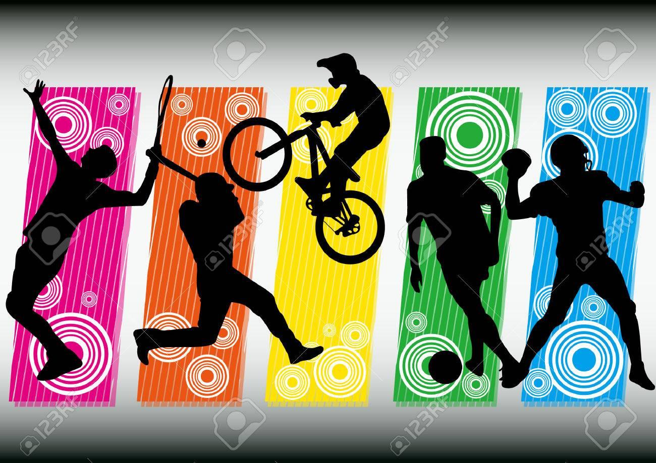 sport soccer bike tennis baseball football icon silhouet - 22815723
