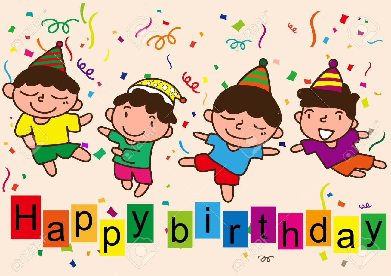Happy Birthday Cartoon Celebration Royalty Free Cliparts Vectors