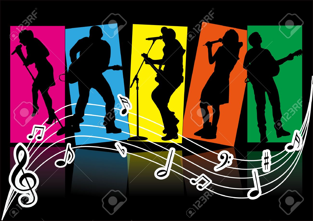 singer silhouette and music items - 25928846