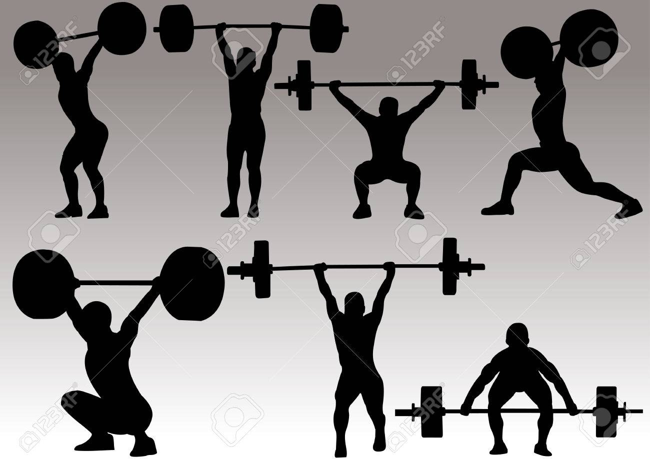 illustration of weight lifter athlete silhouette stock vector 37289660