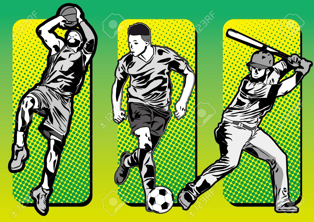 Sport icons and baseball basketball soccer players silhouettes - 101342223
