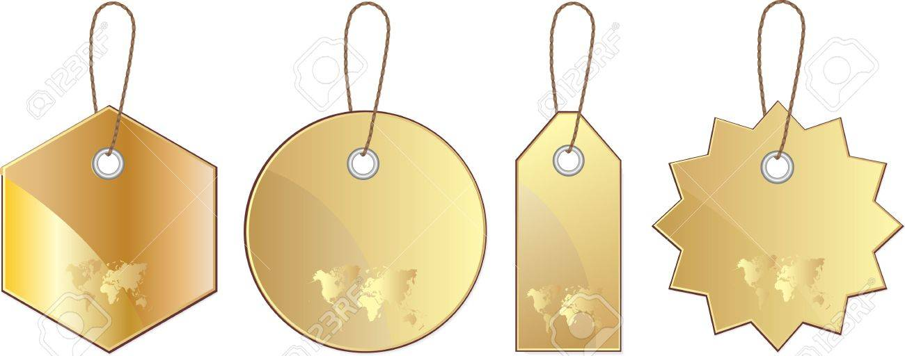 Set of gold price label, tag with world map Stock Vector - 13521805