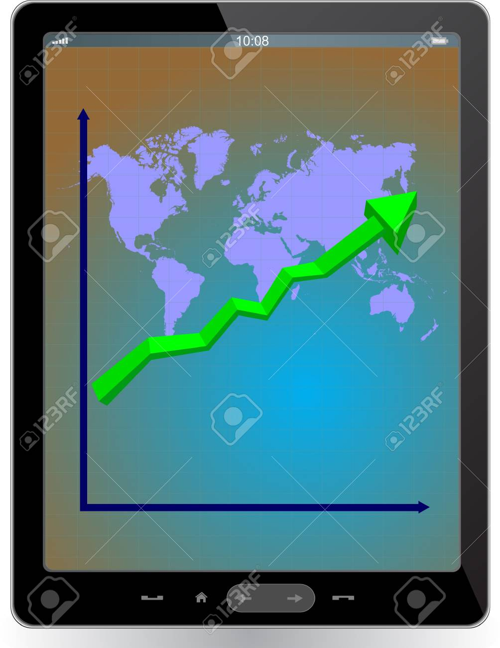 Tablet computer with world map Stock Vector - 13775132