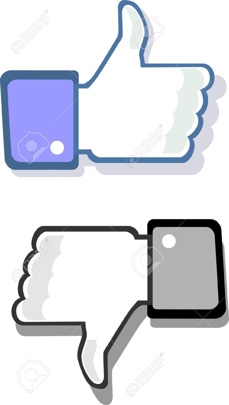 Facebook pouce vers le haut et vers le bas comme geste et à la différence Banque d'images - 14212488