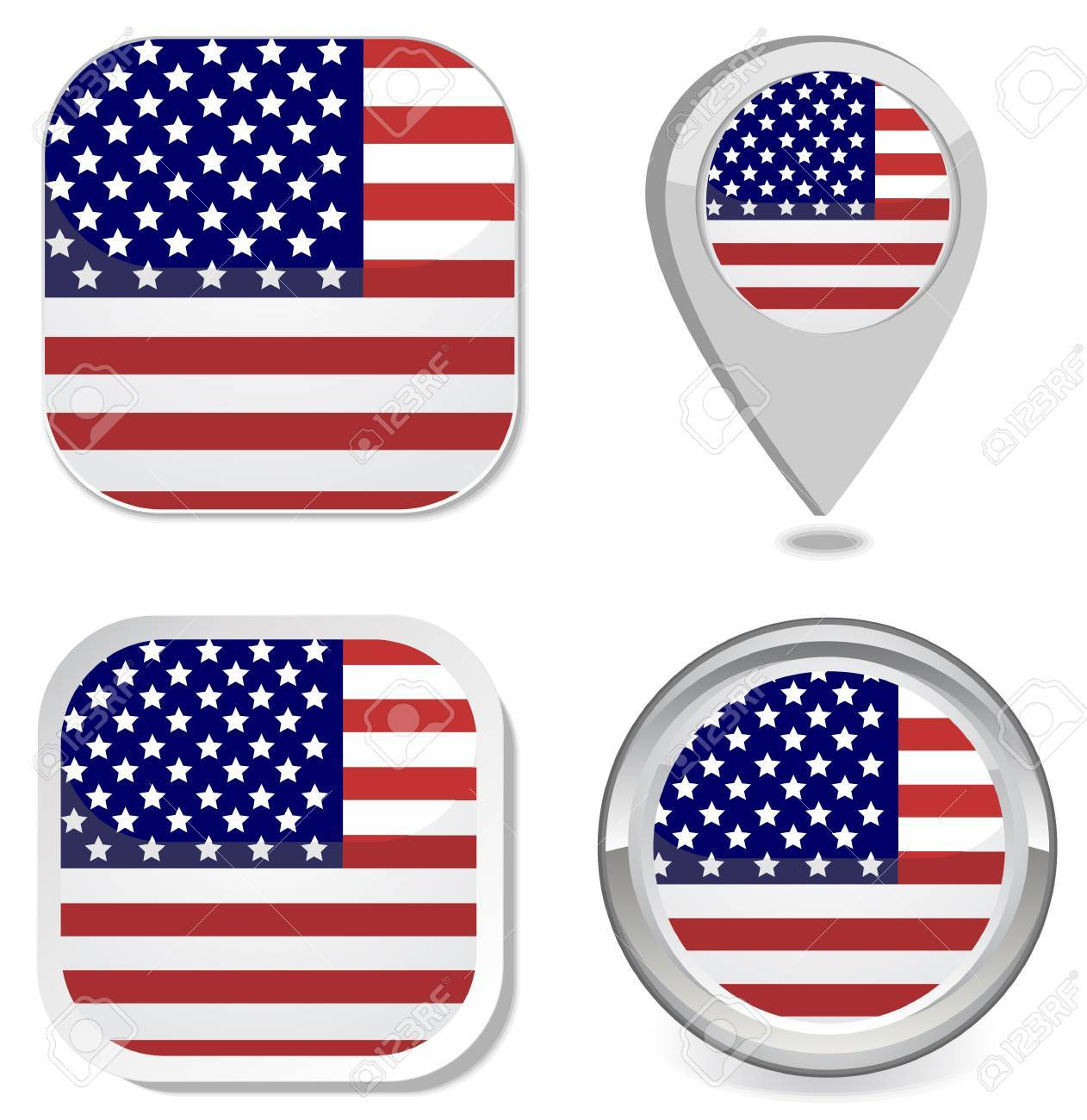 c04a2e32d71 USA Flag Icon Button Sticker Map Point Marker Royalty Free Cliparts ...