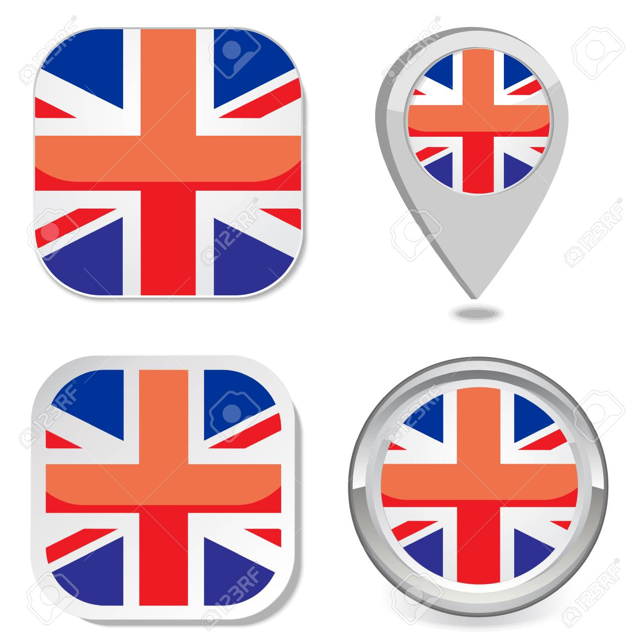 flag icon button sticker map point marker of great britain Stock Vector - 22550219